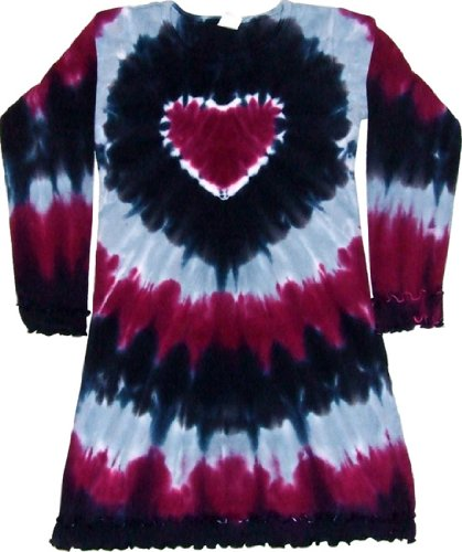 Tie Heart Dye Dress - Tie Dyed Shop -Tie Dye Girls Dress - Prairie Wine Heart Longsleeve-4T-Multicolor