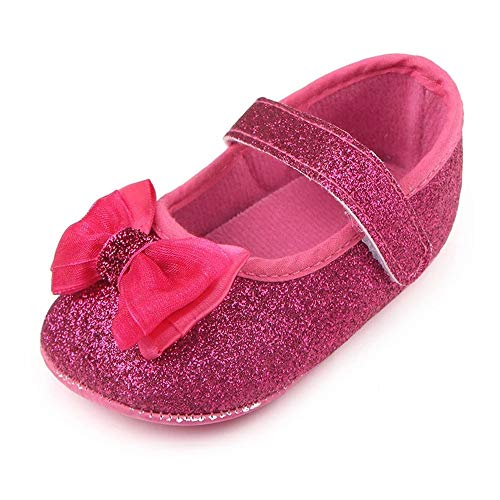 Hot Girls In Dresses (Baby Girls Mary Jane Flats Princess Dress Shoes Soft Sole Bowknot Non-Slip Infant(102 0-6 Months Hot)