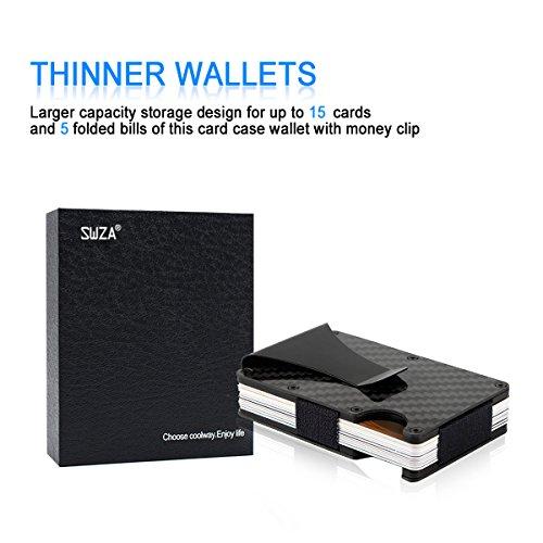 Carbon Fiber Minimalist Wallet for Men  RFID Blocking Credit Card Holder Metal Wallet Money Clip