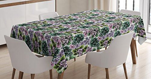 Flowering African Violet (Ambesonne Floral Tablecloth, Flowering Plants Gardening African Violet Peonies Hydrangea Foliage Illustration, Dining Room Kitchen Rectangular Table Cover, 60 W X 90 L inches, Multicolor)