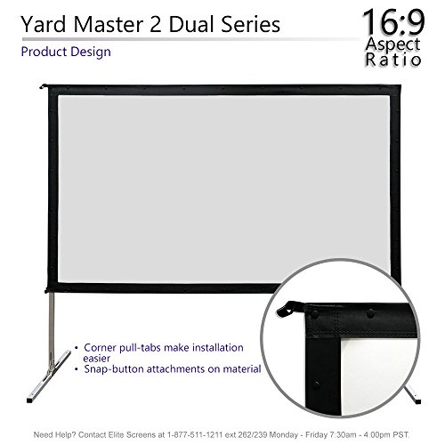 Elite Screens Yardmaster 2 DUAL, 16:9, Front/Rear Projection, 4K/8K Ultra Active 3D, Ready