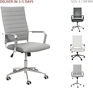 LUCKWIND Ergonomic Office Chair Ribbed Leather Swivel - Adjustable Height Tilt Arm Sleeves Lumbar Support High Back Upholstery Executive Modern Conference Computer Chrome Wheel Caster 350lb (Grey)