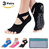 Hylaea Yoga Socks for Women with Grip & Non Slip Toeless Half Toe Socks for Ballet, Pilates, Barre, Combed Cotton (Medium, Black/Watermelon Red/blue)