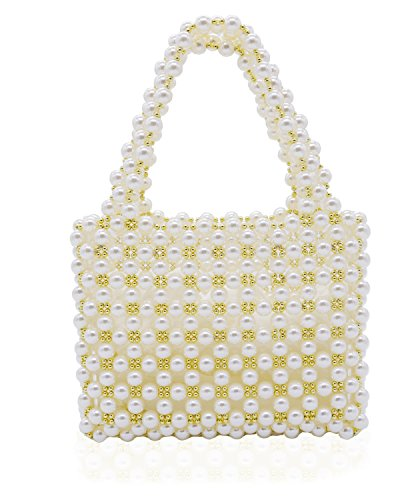 - Miuco Women's Vintage Style Pearl Tote Bags Evening Clutch Wedding Purse White