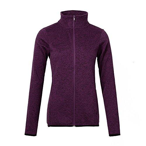 (Dolcevida Women's Long Sleeve Running Sweatshirt Full-Zip Fleece Jacket (Large, Purple))