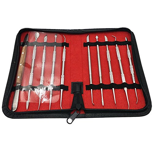 NIUPIKA Steel Wax Carver Clay Pottery Sculpture Tools Carving Tool Set Dental Lab Equipment