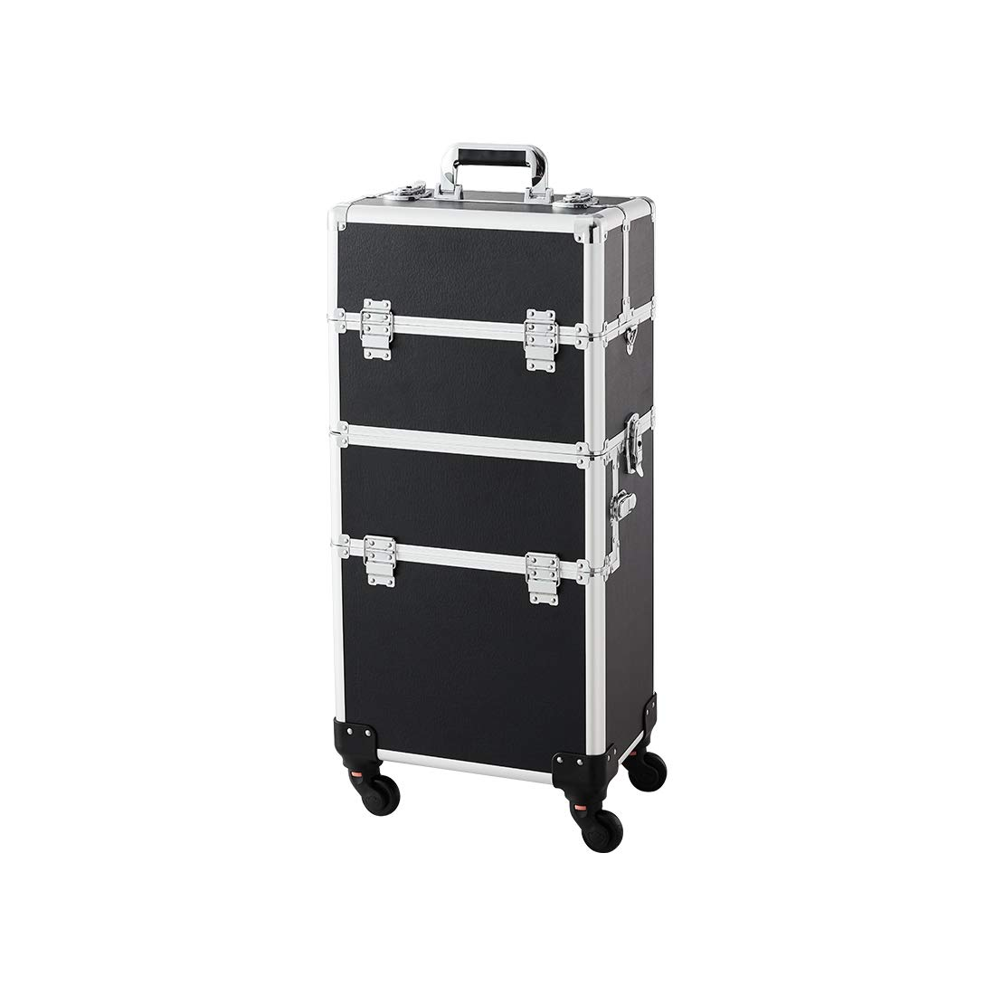 Makeup Case - 3 In 1 Aluminum Professional Rolling Cosmetics Storage Organizer With Locks and Folding Trays Black