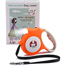 Retractable Dog Leash, 16 Feet Extendable Leash with Light For Small Dogs - Easy Grip, Lock & Release Mechanism, Build-in LED Flashlight