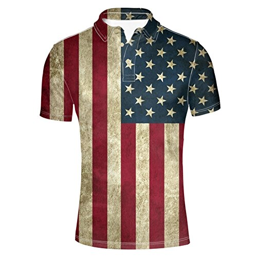 (HUGS IDEA Mens Stars Stripes Golf Polos Shirt American Flag T-Shirt Short Sleeves Sport)