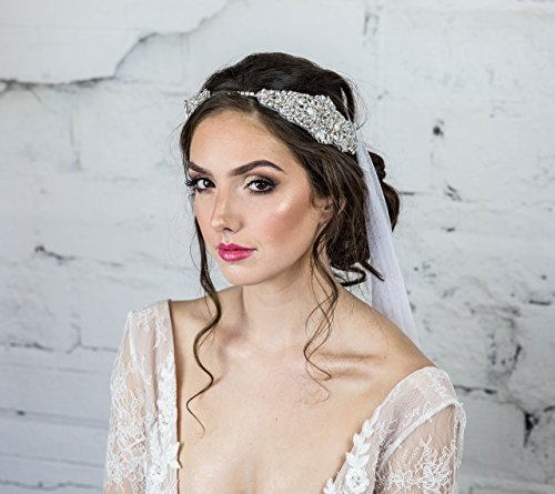 Crystal Bridal Headband, Swarovski Headpiece, White Head Chain, Hair Comb for the Bride, Boho Hair Jewelry, Statement, Headdress by Hair Floaters