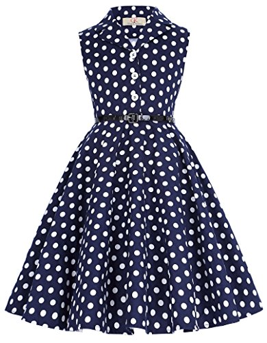 Girl's Sleeveless Vintage Polk Dot Party Dresses 10yrs (Kids Girls Sleeveless)