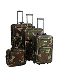 Rockland F32 Skate Wheels Luggage Set, Camouflage, One Size, 4-Piece