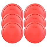 Pyrex 7402-PC Red Round Storage Replacement Lid Cover fits 6 & 7 Cup 7'' Dia. Round (6-Pack)