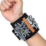 LEMAIKJ Bracelet magnétique avec 5 Aimants Puissants 2 poches de Rangement pour Porte Outils, Vis, Clous, Boulons, Forets DIY Bricoleur,Ceinture magnétique