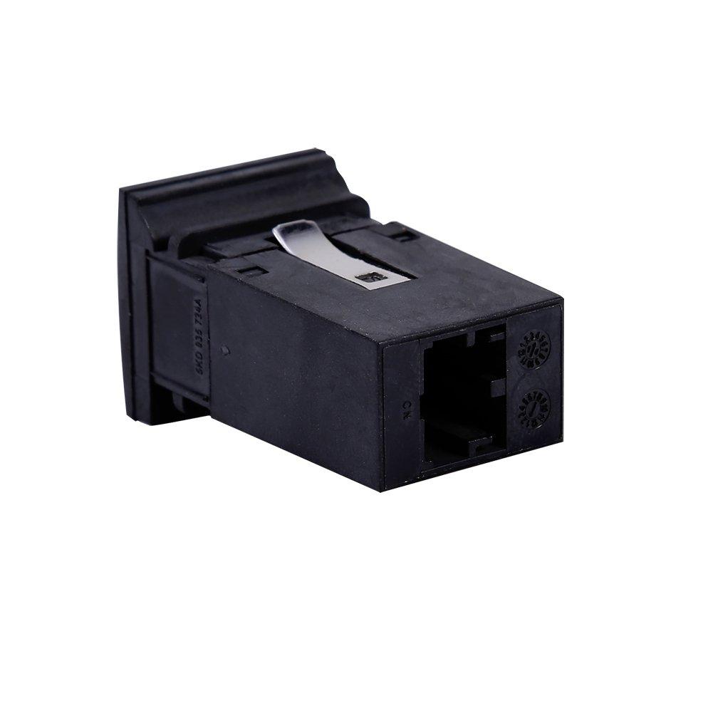 c/âble dextension noir Qiilu Commutateur de Prise USB et C/âble AUX In Plug Plug w