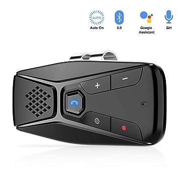NETVIP Manos Libres para Coche Bluetooth 5.0 Auto Power On Altavoz Bluetooth Coche Inalámbrico para Conecta con Siri, Google Asistente Soporta GPS y ...