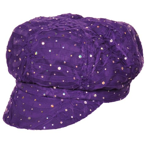 (Chemo Hat Glitter Sequin Purple Newsboy Fitted for Women with Cancer Chemo Hair Loss)