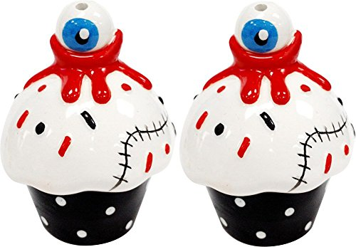 Sourpuss Brand - Bloody Eyeball Cupcakes Salt & Pepper Shakers - Set of 2 -
