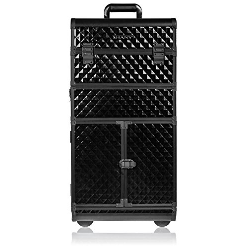 SHANY REBEL Series Pro Makeup Artists Rolling Train Case - Trolley Case - Curious Black Cat (Rolling Professional Case Makeup)