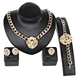 Best Chain Necklaces With Earrings - Gold/Silver Plated Lion Head Chain Statement Necklace Bracelet Review
