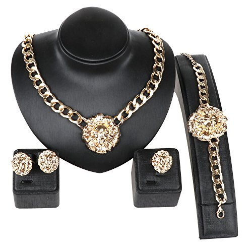 Gold/Silver Plated Lion Head Chain Statement Necklace Bracelet Earring Ring Jewelry Set (Gold) by WANG