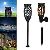ASOSMOS Solar Torch Light Flickering Flames Landscape Decor 3 Modes Wall Mount Lamp for Garden Yard Pathway