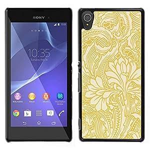 A-type Arte & diseño plástico duro Fundas Cover Cubre Hard Case Cover para Sony Xperia T3 (Gold Wallpaper Floral Beige Flowers)