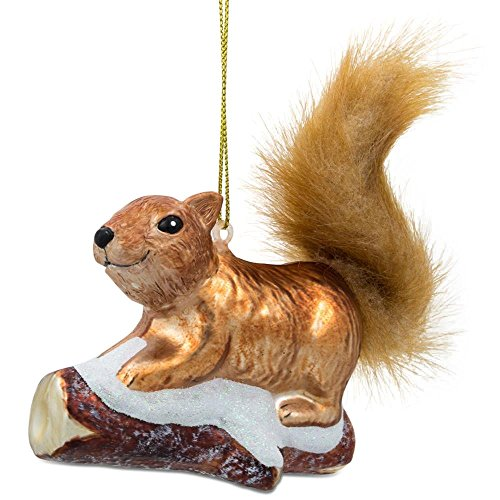 BestPysanky Squirrel on Snowy Branch Glass Christmas Ornament
