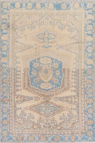 Rug Source Traditional Viss Persian Oriental Hand Made Wool Vintage Distressed Area Rug 6x8 Beige (8' 2