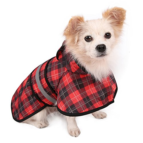 HDE Dog Raincoat Hooded Slicker Poncho for Small to X-Large Dogs and Puppies (Plaid, Small) (Roll Off Your Back Like A Duck)