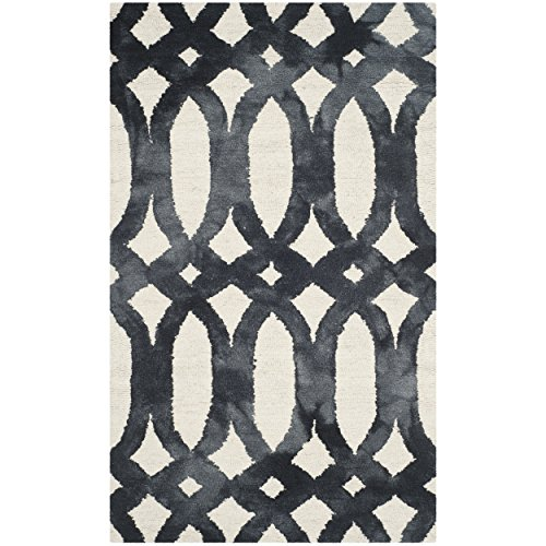Safavieh Dip Dye Collection DDY675D Handmade Geometric Watercolor Ivory and Graphite Wool Area Rug (3' x 5')
