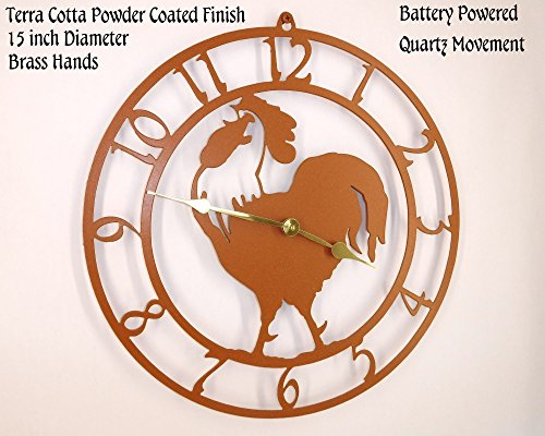 Terra Cotta Wall Clock - Rooster Wall Clock. Solid Steel. 15 Inch Wide. Quartz Movement. Terra Cotta Color. Handmade in USA.