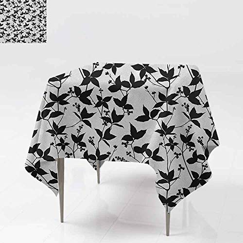 (DUCKIL Oil-Proof and Leak-Proof Tablecloth Branch and Leaf Tree Silhouette Spring Stylish Gardening Tender Artful Pattern Party W63 xL63 Pale Grey Black)