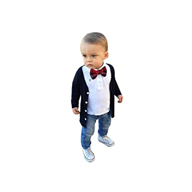 bae3f2be8545 Kolylong 1Set Kids Baby Boys Little Gentlemen Long Sleeve T-Shirt ...