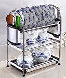 Stainless Steel Dish Drying Rack,Kpblis Stylish and Elegant Design,Advanced Dish Racks for Any Kitchen Style(3-Tier Dish Rack)