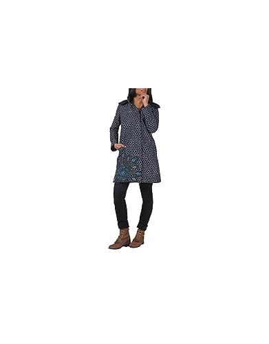 Aller Simplement - Asimétrico con cremallera doble polar 2 algodón manga larga capa bolsillos con ca...