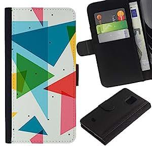 """JackGot ( Patrón Polígono Triángulo"""" ) Samsung Galaxy S5 Mini (Not S5), SM-G800 la tarjeta de Crédito Slots PU Funda de cuero Monedero caso cubierta de piel"""