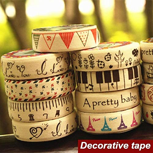 6 pcs/Lot Cotton Cloth Tapes Linen Music Love Tower Masking Decorative Adhesive Tape Scrapbooking Tools Stickers Stationery