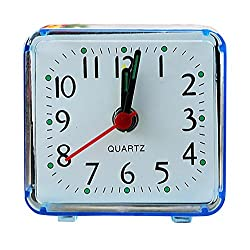 CieKen Simple Bedroom Alarm Clock, Silent Non Ticking Analog Small Lightweight Alarm Clock, Sound Crescendo, Mini Sized Travel Quartz Alarm Clock, Battery Operated (Blue)