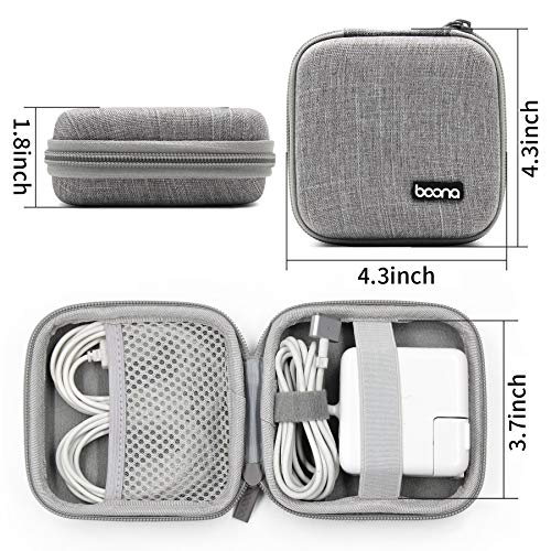 BOONA MacBook Power Adapter Exclusive Organizer Case, Hard Shell Portable Electronics Accessories Travel Storage Carrying Bag for Laptop, Gadgets, Cables, Cords, USB Drives, Earphones - Small, Grey