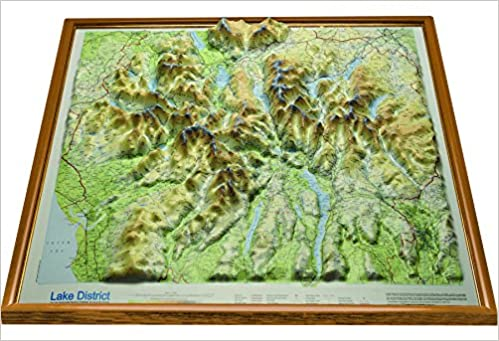 3d Relief Map Of Uk.Light Wood Framed Raised Relief Map Of The Lake District With Free