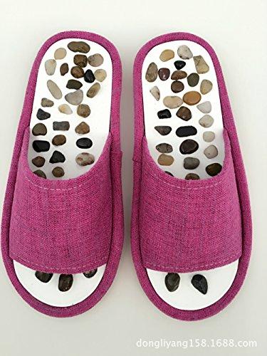 brown Invernali Pantofole Scarpe Ciabatte Hong Naturale Massaggio Da Jia Ciottoli Con X5qvKIwI