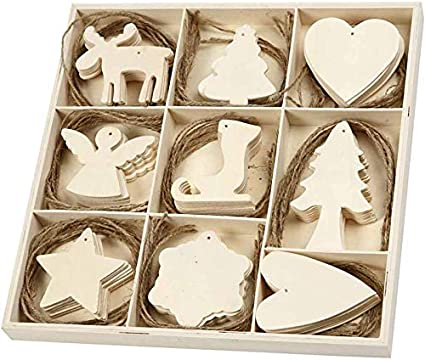 Details about  /Christmas Tree Hanging Shapes Wood Craft 100x Xmas Ornament Wooden Decoration