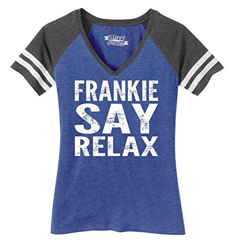 Ladies V-Neck Frankie Say Relax T-shirt - choice of colors