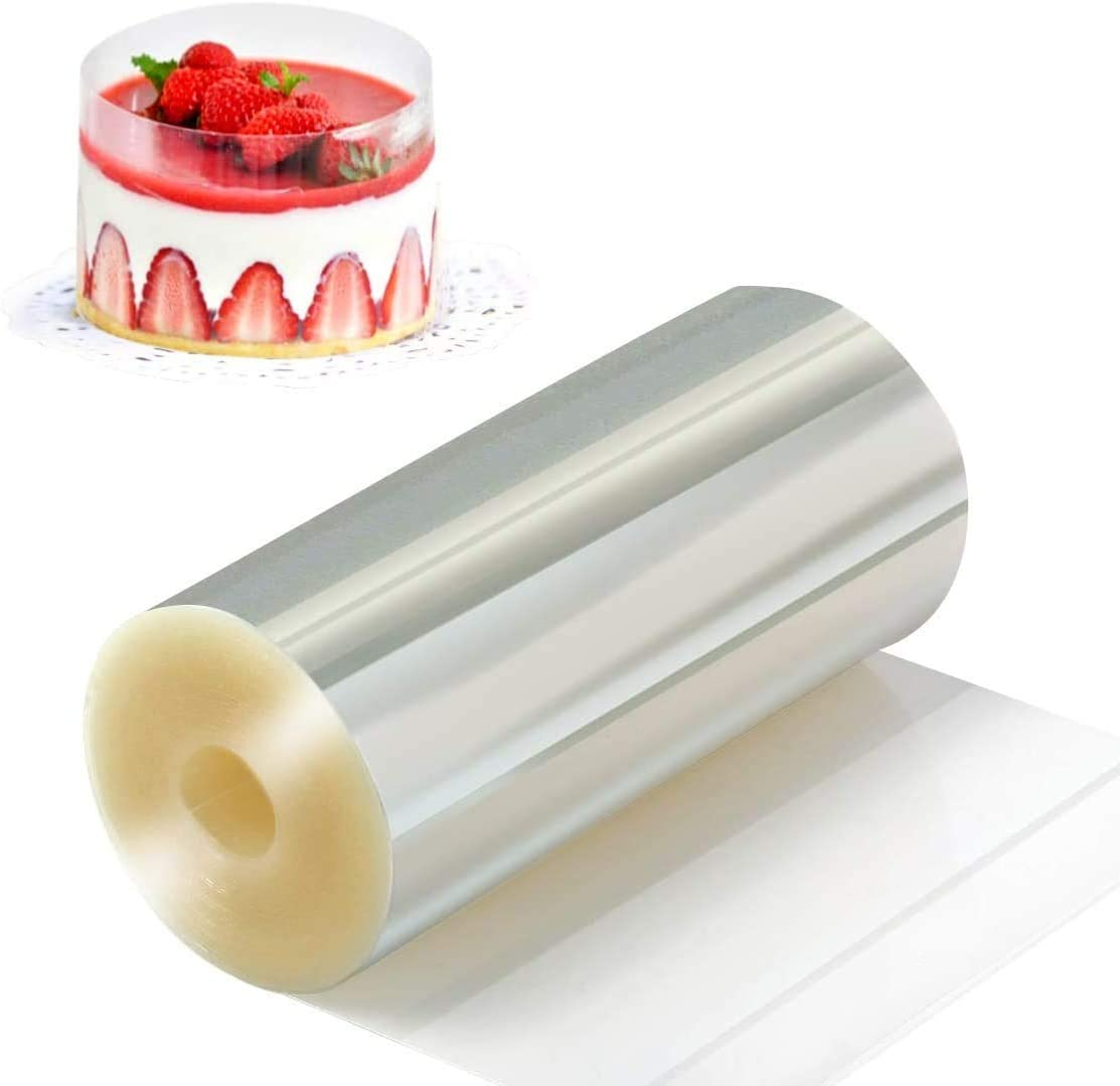 Rose-only Cake Collar, 6 x 394inch Clear Acetate Strips Roll Cake Surrounding Edge for Baking, Acetate Transparent Sheets for Chocolate Mousse Cake Decorating