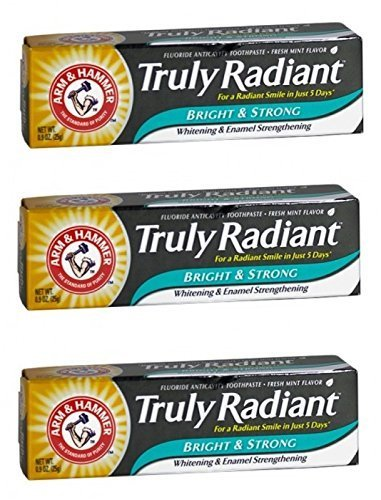 Arm & Hammer Truly Radiant Bright & Strong Whitening Toothpaste .9 Oz Travel Size (Pack of 3)