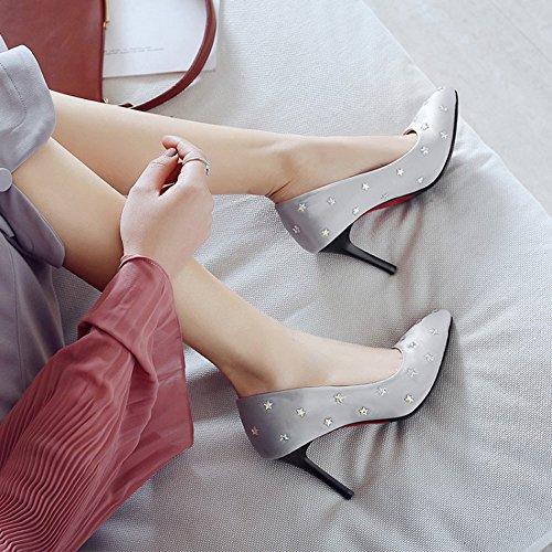 L De Mariage Talons Bouche Pompes En Chaussures Cm D'honneur De De Sexy Peu Fashion Satin Profonde Talons 8 Haut Demoiselle Femmes Chaussures Aiguilles Pointe Gris Talon Mariée Haut 1ARpwfqHw