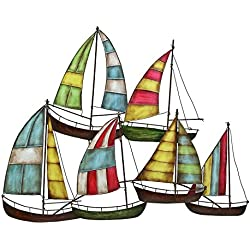 Bellaa 27109 Metal Wall Art Ship Boat Sailors Nautical Decor