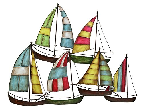 Bellaa 27109 Metal Wall Art Sailing Boat Perfect Nautical Home Decor 33