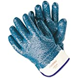 Memphis Gloves 9761R Predator Premium Nitrile-Coated Gloves, Blue/White, Large, 12 Pairs